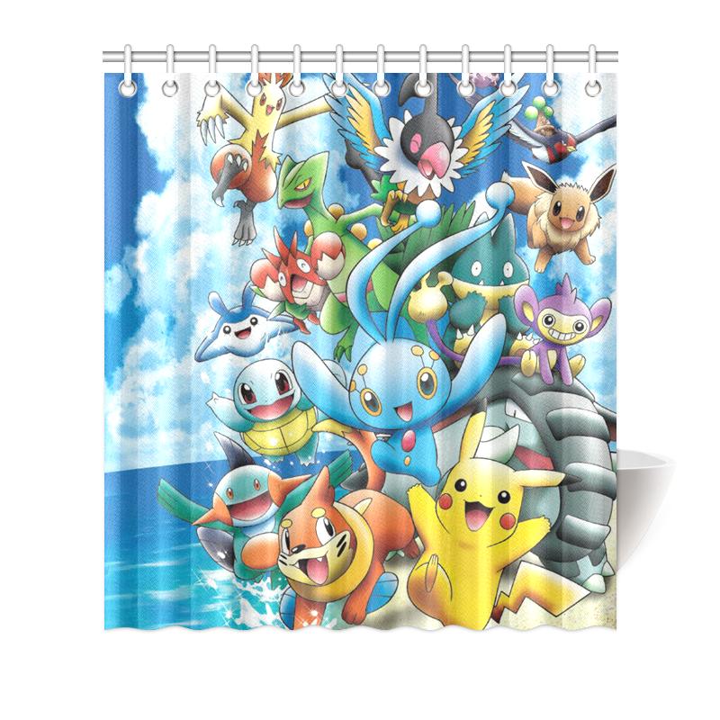 Image Is Loading Hot Sale Custom Polyester Waterproof Pokemon Bathroom Shower