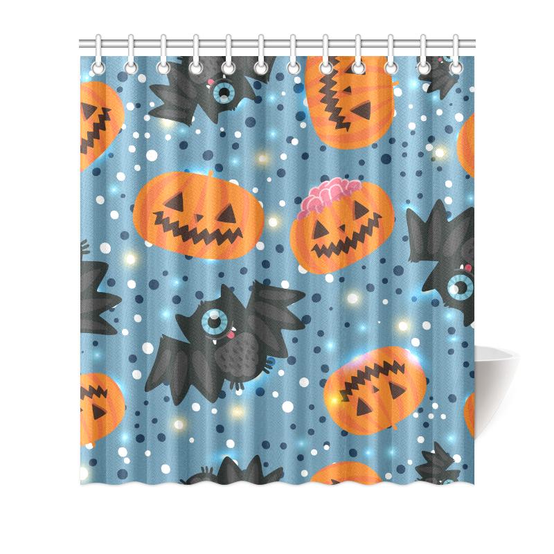 Image Is Loading Custom Waterproof Pumpkin And Bat Bathroom Shower