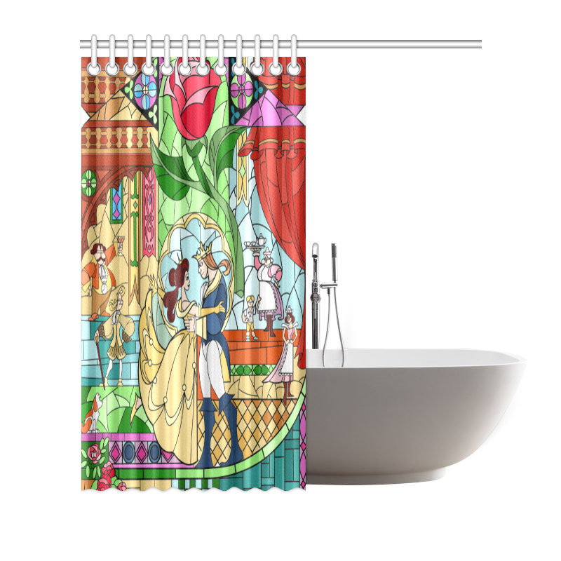 Polyester Waterproof Beauty And The Beast Bathroom Shower
